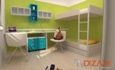 zelena in modra otroška soba