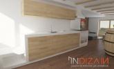 kuhinja z vgrajenim štedilnikom na drva