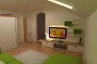 Mansardna dnevna soba v zeleni