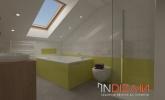 Vgradno strešno okno velux v zeleni kopalnici
