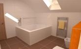 Oranžno bela mansardna kopalnica