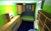Izris mladinske sobe v zeleno modri kombinaciji